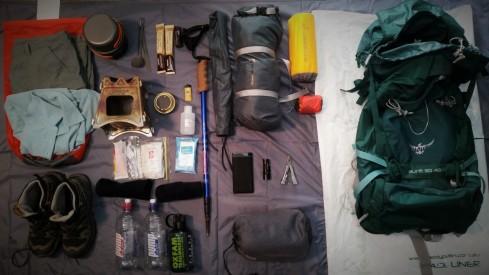 Basic load out Osprey Aura 50 AG Trangia spirit burner Starlight 2p 3 season tent basic pack liner from Paddy Pallin